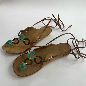 Colin Stuart wraparound straps flat sandals.CS0269